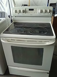 white and black induction range oven