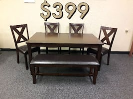 New 6pc Dining Set with Bench