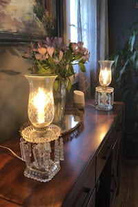 Set of two vintage crystal lamps