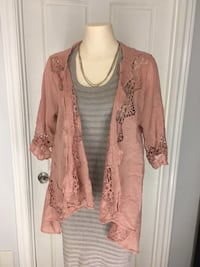 Dusty rose cutout lace drape kimono Burlington, L7L 5S8