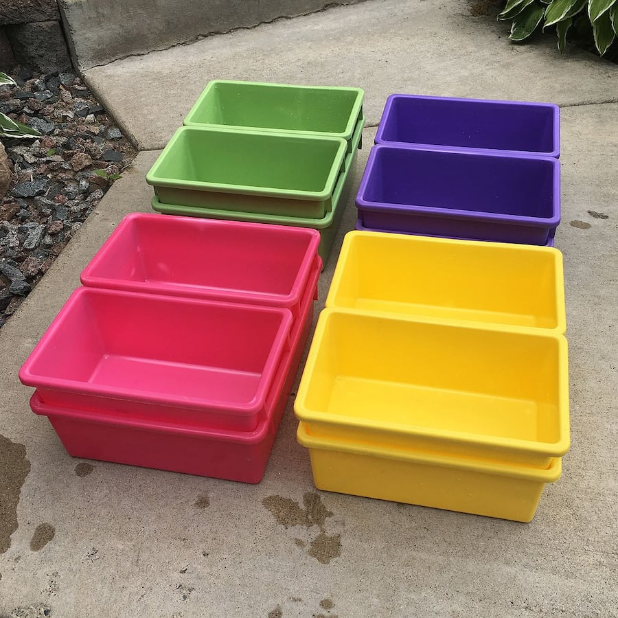 12 Stackable Multi-color Plastic Bins for $5 48a8a44b-ae88-432e-b442-eb764cc8de89