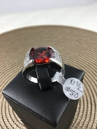 New 11.5 Ruby Ring, 18k white gold filled Chesapeake, 23320