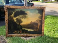 brown wooden framed painting of house Weston, 33331
