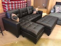 Espresso Bonded Leather Sectional With Ottoman  Phoenix, 85018