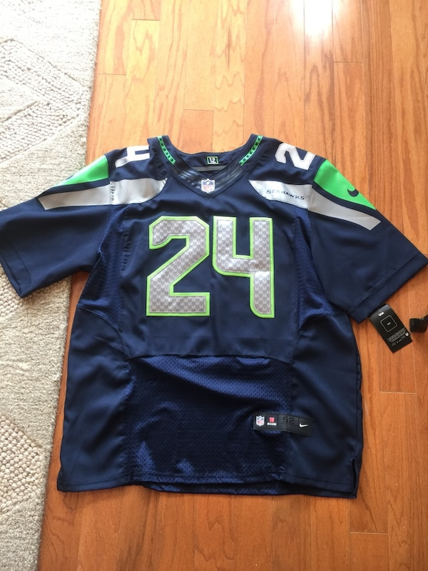 Discount Used NFL authentic Seattle Seahawks never worn blue and green jersey  for cheap