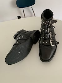 Topshop Black Boots size 26 6.5 real leather studs buckles  Portland, 97216