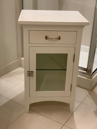 Restoration hardware White wooden cabinet with mirror