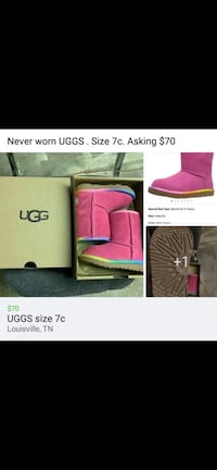 Rainbow trimmed pink UGG boots size 7c