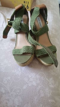 pair of green-and-brown open toe pumps Washington, 20036