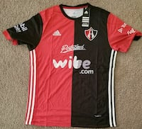 red and black Wibe.com Adidas jersey shirt