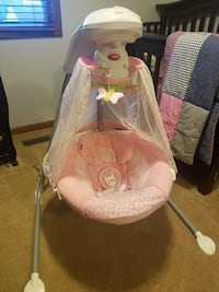 baby's white and pink cradle n swing Fort Wayne, 46835