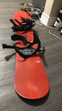 red snowboard with black bindings Hamilton