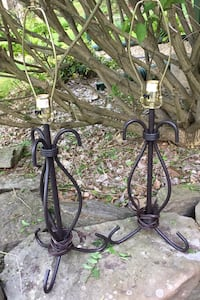 """Brown Metal Lamps, overall height 28"""", base height 17 1/2""""."""