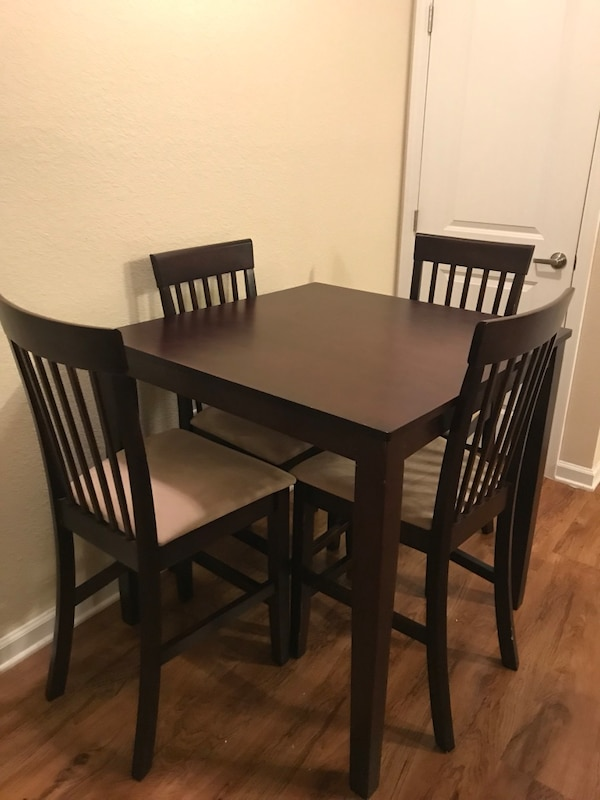 Used 5 Piece Wood Pub Style Kitchen Table And Chairs For Sale In