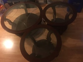 Solid cherry wood Round tables - 1 centre + 2 side