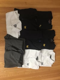 Notre Dame High School Uniforms- 1 Vest Size Medium, 1 Sweater Size Medium, 2 Cardigans Size Medium and Large, 2 White Polos Short Sleeve, 1 Long Sleeve Dress Shirt Size Small, 2 Pairs of Dress Pants Size 33 and 34.
