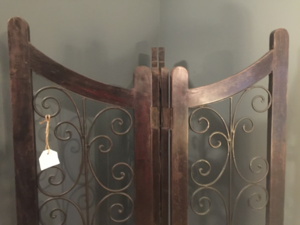 Very Heavy Dark Wood and Black Wrought Iron Four-Panel Room Divider! Gorgeous! 5c5e3dce-74a3-4da0-a550-bf9d84e0f1c9
