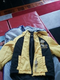 yellow an black zip-up bubble jacket