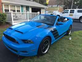 Blue ford mustang convertible