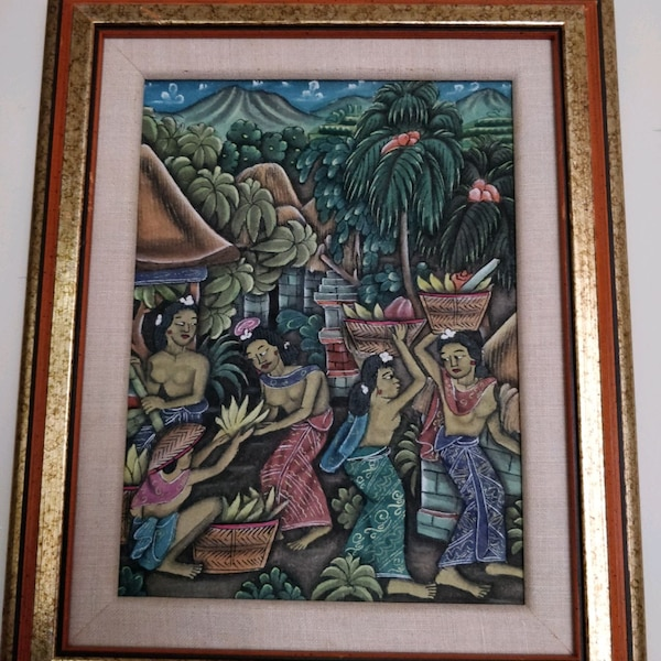 Traditional Balinese Paintings, gold wood frame aba5a3ba-b592-4e4b-8791-e363073dce67