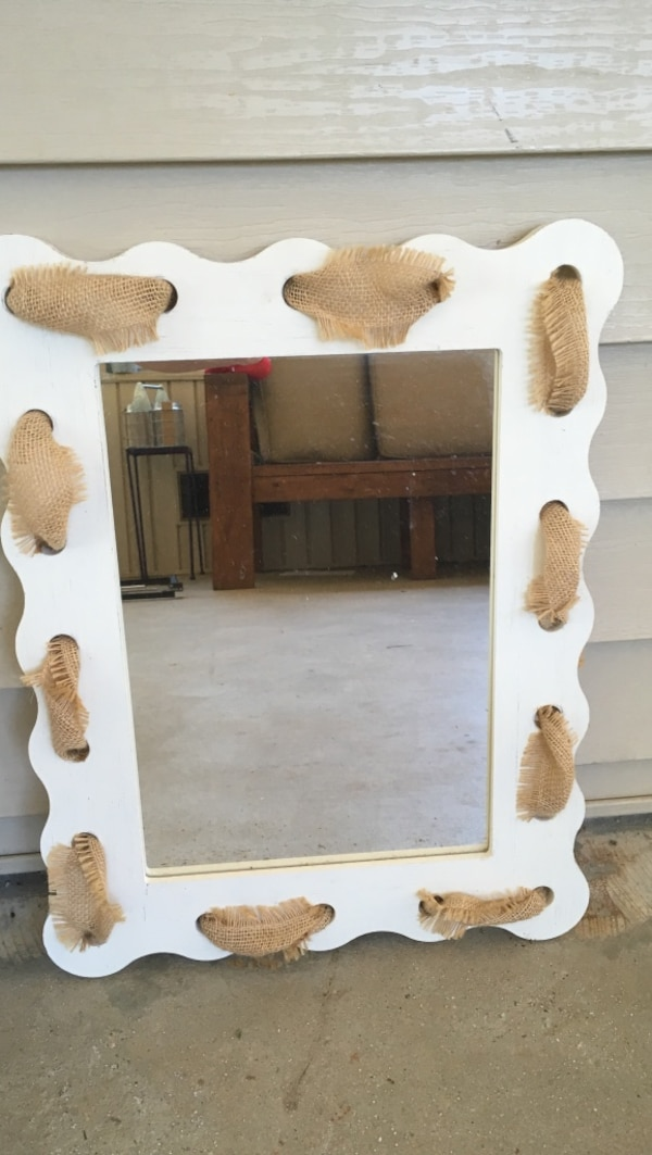 Rectangular White Wood Framed Leaning Mirror With Burlap
