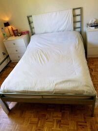 white wooden bed frame with white mattress Laval, H7X 3M4