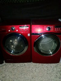 two red front-load clothes washer and dryer set Perris, 92570