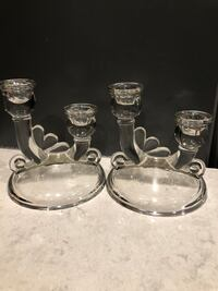 Set of 2 Glass candle holders. Framingham, 01701