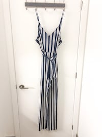 SIZE 3X BLUE AND WHITE VELVET STRIPED JUMPSUIT  Toronto, M5A