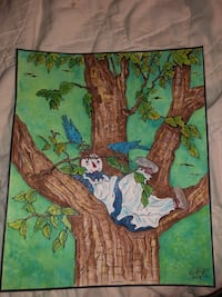 Brown and green tree painting 2321 mi