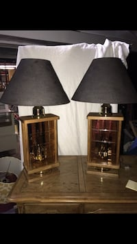 2 Oak Beveled Glass With Candle Looking Lights Works Great  381 mi