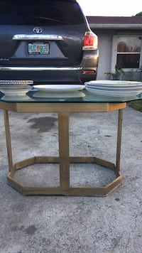 brown wooden framed glass top table Port Saint Lucie, 34952