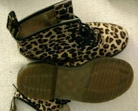 brown-and-black leopard print leather boots Racine, 53404