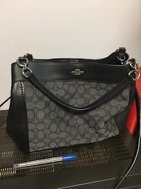 black and gray Coach leather bag, medium size Mississauga, L4X 1K9