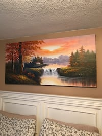 brown wooden framed painting of trees Mississauga, L4Z 1H4