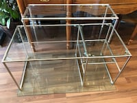 Stainless steel frame glass top shelving Unit Vancouver, V5T 2G3