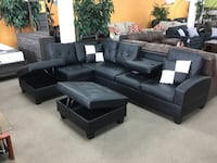 black leather sectional sofa with coffee table Alexandria, 22309