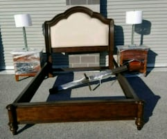 Queen Size Bed Set with Lamps & Night Stand Like New