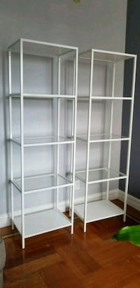 white metal framed glass display cabinet New York, 10458
