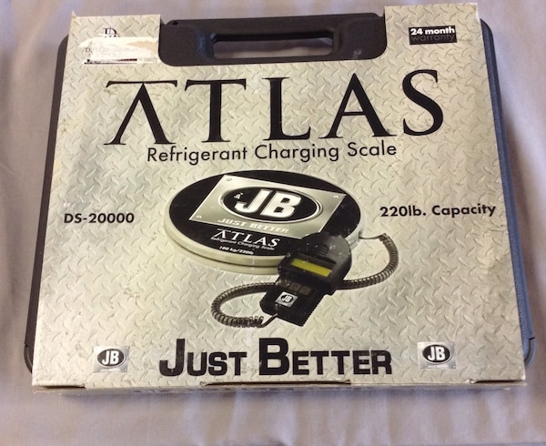 """Brand new never used"" Jb industries Ds-20000 Atlas 220lb capacity refrigerant charging scale."