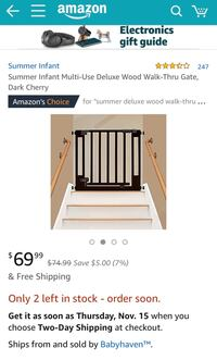 Summer Infant Multi-Use Deluxe Wood Walk-Thru Gate, Dark Cherry 伯克, 22015