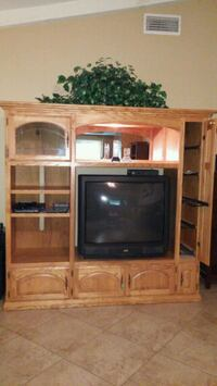 "Oak entertainment center with 36""  TV Upland"
