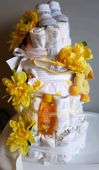 one of a kind lemon inspired 4 tier babydiaper cake  Edmonton, T5A 0M1