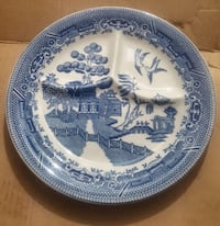 Ceramic plate, blue willow.