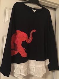 women's black and red long sleeve top
