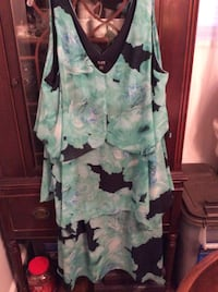 white and green floral sleeveless dress 34 km