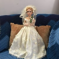 white and blue dressed porcelain doll Rockville, 20853