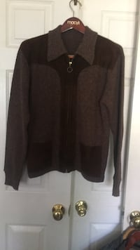 Wool and Suede Sweater Jacket -Size Medium Reston, 20190