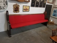 Large Dark Wood Church Pew Bench w/ Red Tufted Upholstered Cushions