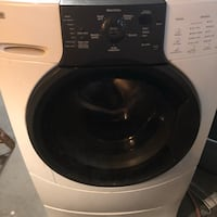 White and black front-load clothes washer Foxboro, 02035